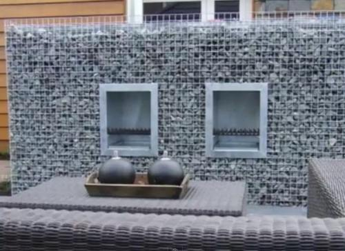 double gabion fire place